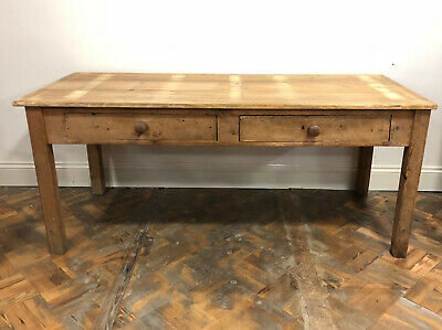 Large Scrub Top Pine Table with Two Drawers - Delivery Available