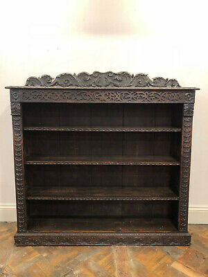 19th Century Gothic Style Carved Oak Bookcase - Delivery Available