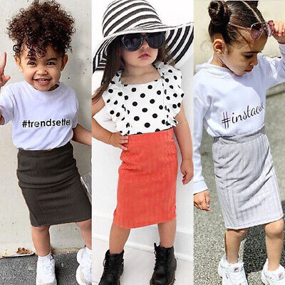 AU Toddler Kid Baby Girl Solid Knitted Skirt Slim Hip Short Dress Clothes Summer