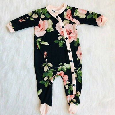 US Newborn Baby Girl Clothes Floral Button Long Sleeve Romper Jumpsuit Outfits