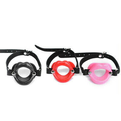 Silicone Sissy Bimbo Open Mouth Gag Lips Strap Belt O-Ring Restraints Roleplay