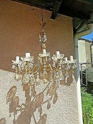 Antique Large Chandelier Louis XV in Pampilles Crystal and Bronze doré-12