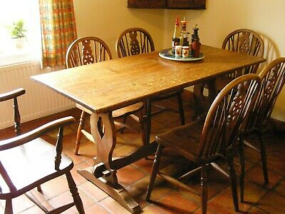 Antique Oak Refectory Farmhouse Kitchen Dining Table + 6 Chairs