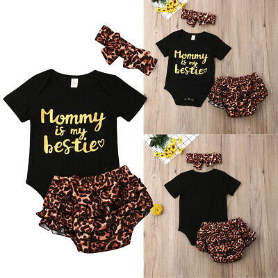 Newborn Baby Girl Infant Clothes Romper Tops Leopard Print Pants Birthday Outfit