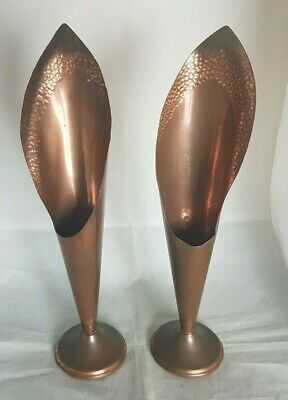 Pair of Beautiful Vintage Decorative Copper Vases (Height -