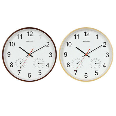 3X(Geekcook 12 Inch Classic Wooden Wall Clocks Silent Quartz Thermometer Hy U6A6