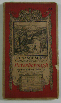 1922 Old Vintage OS Ordnance Survey One-Inch Popular Edition Map 64 Peterborough