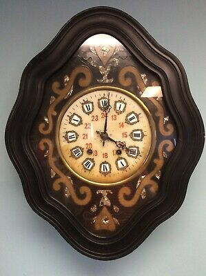 """Antique 19thC French Napoleon III Wall Clock 24.5"""" Tall"""