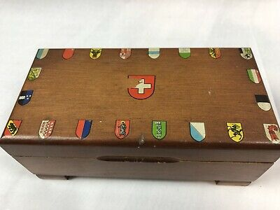 Vintage Swiss Coats of Arms Wooden Music Box Clock Work working Trinket