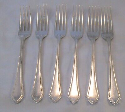 A Set of 6 Silver Plated Dessert Forks - Mappin & Webb - Pembury Pattern