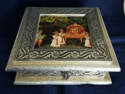 Beautiful Aluminium Covered Wooden  Indian Storage Box