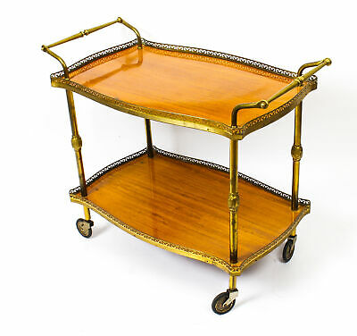 Modernist French Gilt Brass Hostess Trolley  Dry Bar  Mid-Century