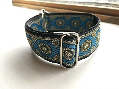 """Blue Handmade Adjustable Martingale Dog Collar 1.5""""  for Iggy, Whippet, Lurcher"""
