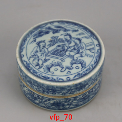 China antique Ming Dynasty Blue and white Character pattern Inkpad box