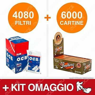 4080 Filtri OCB Slim 6mm 6000 Cartine Smoking Orange Corte Box Box Libretti