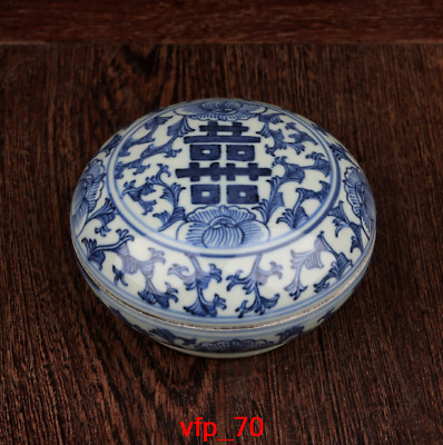 old China antique Guangxu year Blue and white Double Happiness word Inkpad box