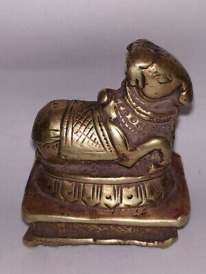 Antique Traditional Indian Ritual Brass Hindu Nandi Statue slf