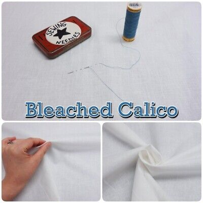 "BLEACHED CALICO White 100% Cotton135cm/54"" Wide Craft Quilt Fabric Material"