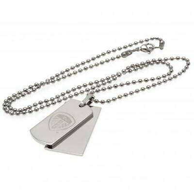Leeds United FC Official Stainless Steel Double Dog Tag and Chain
