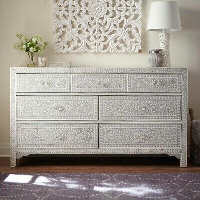 Handmade Bone Inlay Floral Leaf Gray Chest of Drawer Dresser