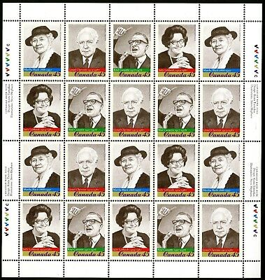 Canada Stamp #1664b - Prominent Canadians (1997) 20 x 45¢ Full Pane MNH