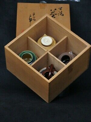Japanese Tea Caddy set of 4 Kiyomizu-ware Seto glaze High class lid Signed w/box