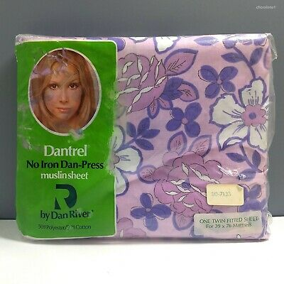 Dantrel Vintage No-Iron Fitted Muslin Twin Sheet, Purple Pink Floral, New In Pkg