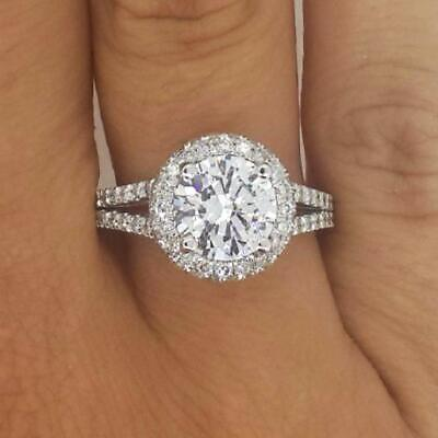 3.2 Ct Split Shank Double Halo Round Cut Diamond Engagement Ring VS2 White Gold