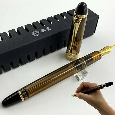 Wing Sung 699 Brown Translucent Vaccum Filling Fountain Pen F Nib Writing Gift