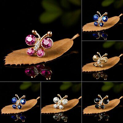 Trendy Crystal Rhinestone Flowers Butterfly Animals Small Brooch Pin Badge Decor