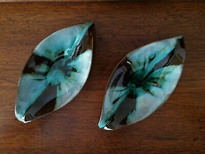 Vintage MCM Blue Mountain Pottery Canada ~ Leaf Drop Candy Dishes ~ Early Glaze