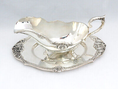 Rare Hard to Find Wallace Rose Point Silver Gravy Boat and Tray