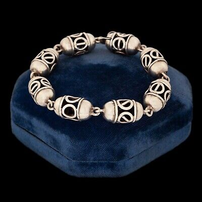 Antique Vintage Deco Mid Century Sterling 925 Silver Taxco Bali Style Bracelet
