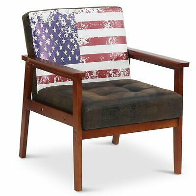 Vintage Flag Pattern Arm Chair 26''L*25.6''W*32.7''H Wood&PU Leather Home Chair