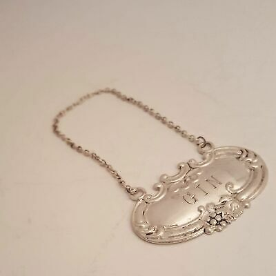 Vintage Wallace Sterling Silver Gin Decanter Bottle Liquor Tag 2""