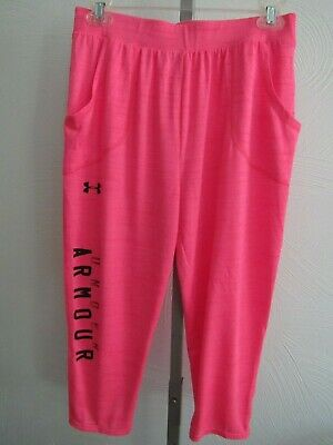 Under Armour Heat Gear Capri Athletic Pants Girls Youth Large YLG Pink Spell-Out
