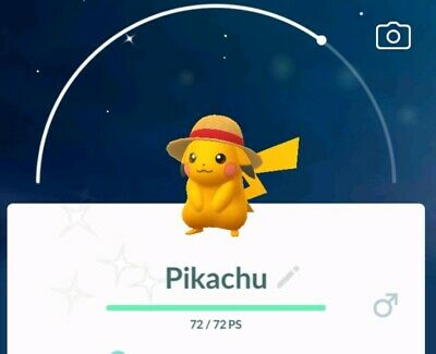 Pokemon go shiny Straw Hat Pikachu One Piece !!