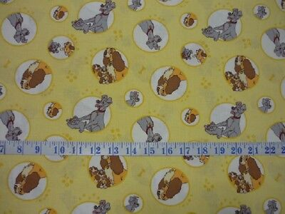 Disney Lady and the Tramp Yellow Cotton Quilting Fabric 1/2 YARD