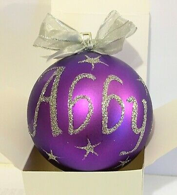 PERSONALISED CHRISTMAS BAUBLES 8cm XMAS - Individually boxed - ALL COLOURS