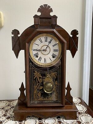 Antique Gothic Style Waterbury Mantel Parlor Kitchen Clock