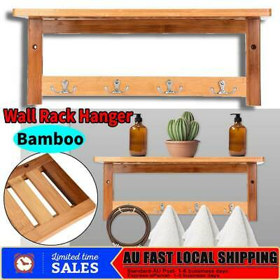 Wall Hanger Coat Rack Wall-Mounted Bamboo Bathroom Hook Hanging Rack Holder