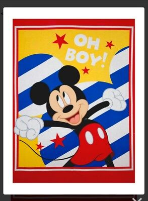 Disney * Mickey Mouse Quilt Panel *  Oh Boy    * New * Free Post *