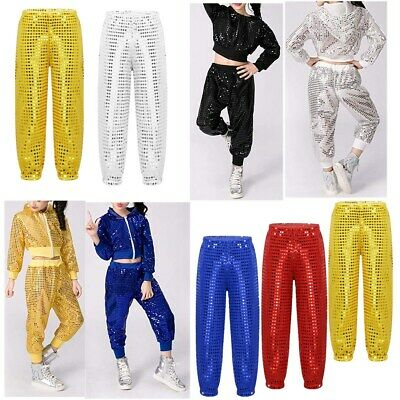 Shiny Hip-pop Jazz Dance Pants Kids Street Trousers Boys Girls Unisex Costume