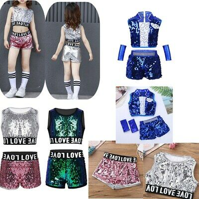 Kid Girls Jazz Dance Clothes Hip hop Costume Shiny Street Stage Outfit Dancewear