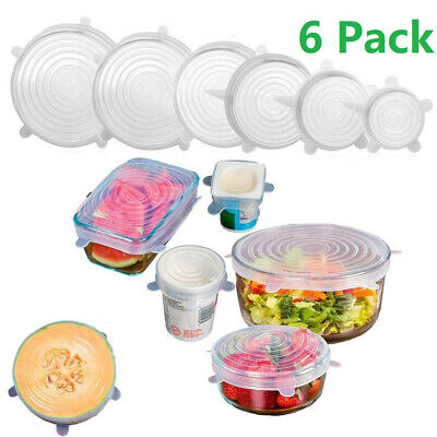 Silicone Stretchy Fridge Food Fresh-Keeping Bowl Cover Protector Sealed Lid 6Pcs