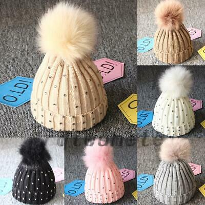 Newborn Baby Boy Girls Winter Warm Double Pom Pom Bobble Knit Beanie Hats Cap