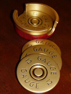 12 Gauge Shotgun Shell Styled Resin Coasters Set of 4 Hunter Cabin Man Cave NEW