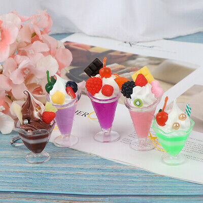 Dollhouse Miniature Ice Cream Cup Model Pretend Play Mini Food Play House  IO