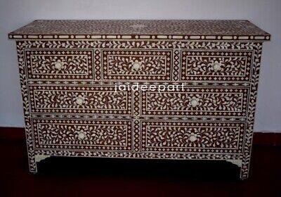 Handmade Bone Inlay Floral Leaf Brown Chest of Drawer Dresser