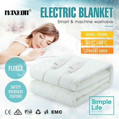 Fleecy Warm Electric Blanket Heated Fully Fitted Washable Queen Size Bedding